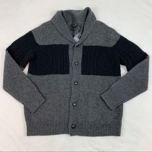 Porter Ash colorblock cable knit grandpa cardigan